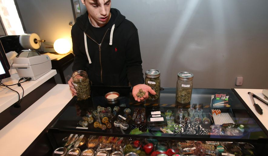Nathan Wilson, a care giver at one of the area Medical Marijuana Dispensaries in Detroit shows some of the marijuana product on Thursday, Jan. 8, 2015. (AP Photo/Detroit Free Press, Kirthmon F. Dozier)