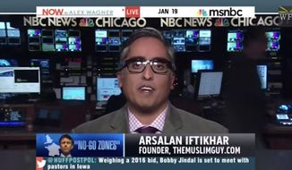 "Muslim human rights attorney Arsalan Iftikhar has reportedly been banned from MSNBC after he claimed on-air that Republican Gov. Bobby Jindal ""might be trying to scrub some of the brown off of his skin"" in his recent comments against radical Islam. (MSNBC via Free Beacon)"