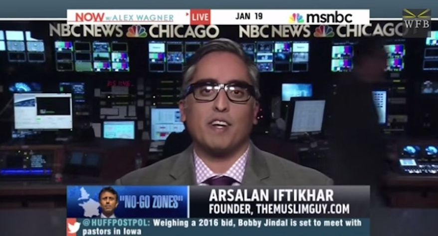 """Muslim human rights attorney Arsalan Iftikhar has reportedly been banned from MSNBC after he claimed on-air that Republican Gov. Bobby Jindal """"might be trying to scrub some of the brown off of his skin"""" in his recent comments against radical Islam. (MSNBC via Free Beacon)"""
