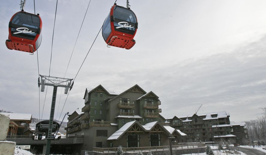 TIED #7. VERMONT $2.314/GALLON. In this Dec. 11, 2008 file photo, gondolas travel past the Stowe Mountain Lodge in Stowe, Vt. A new report released Tuesday Jan. 20, 2015 by the Vermont state auditor says the state isn't reaping the full benefit of state land that's being leased to some ski resorts. (AP Photo/Toby Talbot, File)