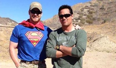 """Navy SEAL Chris Pyle and actor Dean Cain were paired in 2012 on NBC's """"Stars Earn Stripes.""""  (Boot Campaign via @PapaBearLSMC)"""