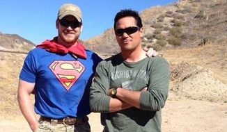 "Navy SEAL Chris Pyle and actor Dean Cain were paired in 2012 on NBC's ""Stars Earn Stripes.""  (Boot Campaign via @PapaBearLSMC)"