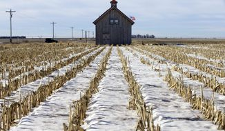 A barn called the Energy Barn, which was built by anti-pipeline activists directly on the route of the Keystone XL pipeline, stands in a snowy corn field near Bradshaw, Neb., Friday, Jan. 16, 2015. The White House has threatened to veto several bills the Republicans have prioritized, including approving construction of the Keystone XL oil pipeline. (AP Photo/Nati Harnik)
