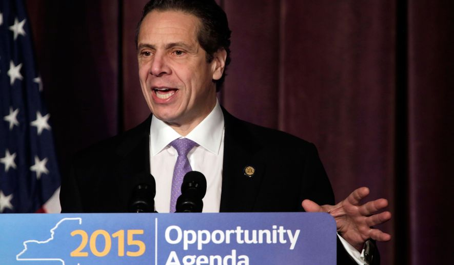 New York Gov. Andrew Cuomo speaks to members of the Association for a Better New York, in New York, Tuesday, Jan. 20, 2015. Cuomo unveiled an ambitious plan to modernize New York's infrastructure and transportation system. (AP Photo/Richard Drew)