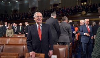 Senate Majority Leader Mitch McConnell waits for the start of the State of the Union address by President Barack Obama Tuesday, Jan. 20, 2015, in the House Chamber of the U.S. Capitol in Washington. (AP Photo/Mandel Ngan, Pool)