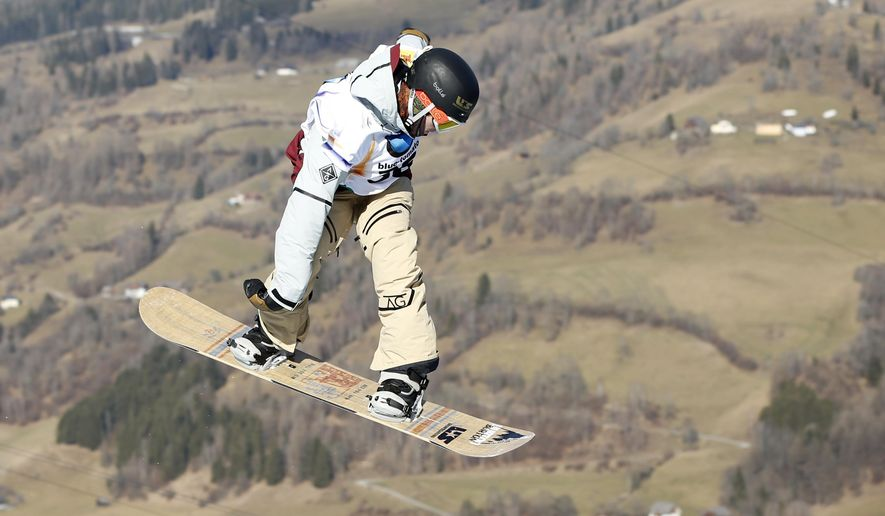 Ryan Stassel from the U.S. competes to win the men's snowboard slopestyle event at the Freestyle Ski and Snowboard World Championships in Kreischberg, Austria, Wednesday, Jan. 21, 2015. (AP Photo/Darko Bandic)