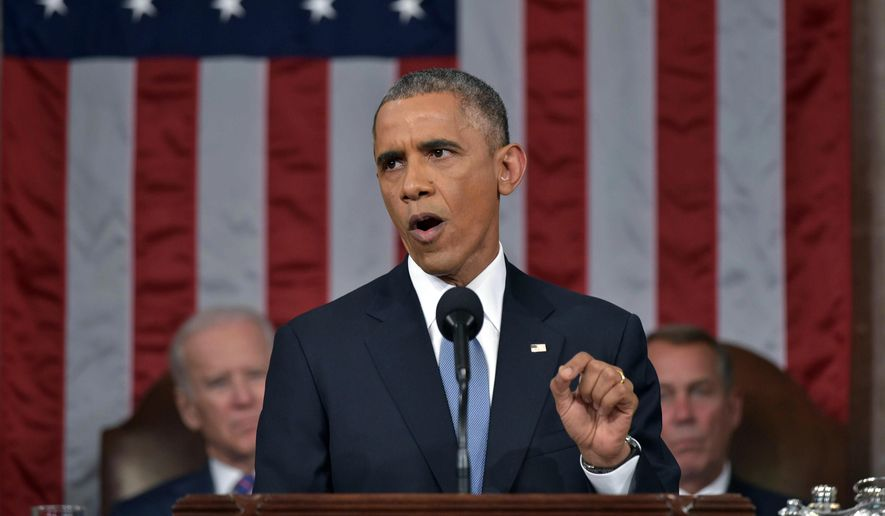 President Barack Obama delivers his State of the Union address to a joint session of Congress on Capitol Hill on Tuesday, Jan. 20, 2015, in Washington. Vice President Joe Biden and House Speaker John Boehner of Ohio, listen in the background. (AP Photo/Mandel Ngan, Pool)