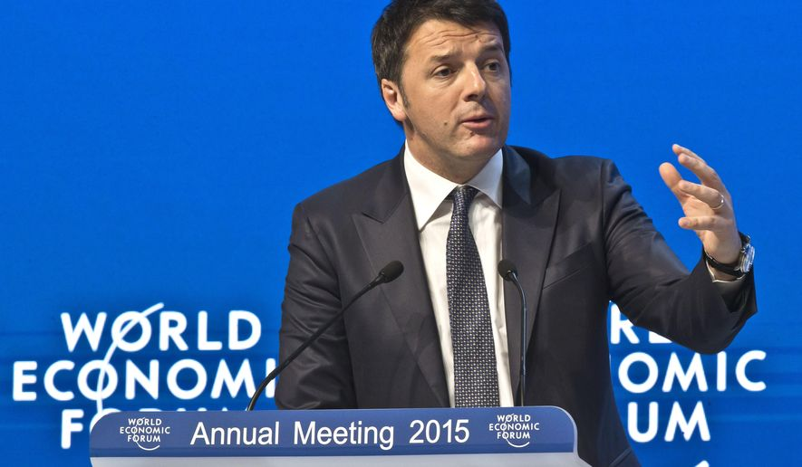 """Italian Prime Minister Matteo Renzi gestures as he speaks during the panel """"Transformational Leadership""""at the World Economic Forum in Davos, Switzerland, Wednesday, Jan. 21, 2015. The world's financial and political elite will head to the Swiss Alps this week for 2015's gathering of the World Economic Forum at the Swiss ski resort of Davos. (AP Photo/Michel Euler)"""