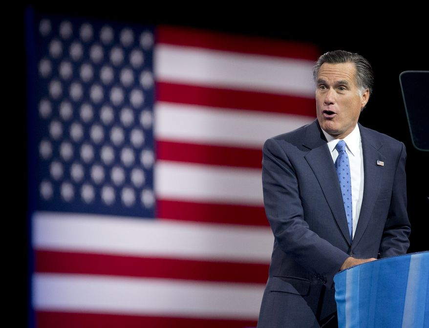 Former Massachusetts Gov. Mitt Romney, speaks at the 40th annual Conservative Political Action Conference in National Harbor, Md., Friday, March 15, 2013.  (AP Photo/Manuel Balce Ceneta)