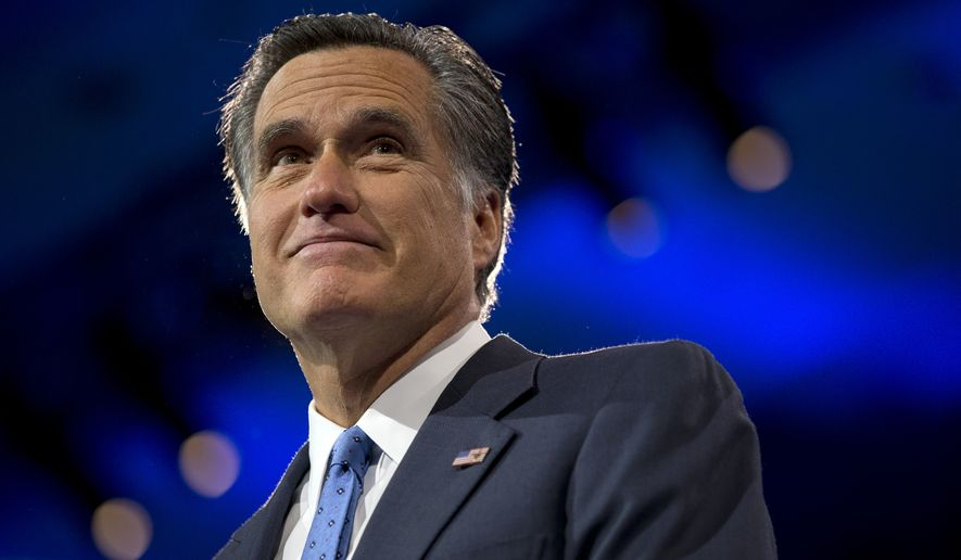 Mitt Romney, former Massachusetts governor and 2012 Republican presidential candidate, pauses while speaking at the 40th annual Conservative Political Action Conference in National Harbor, Md., in this March 15, 2013, file photo. (AP Photo/Jacquelyn Martin)