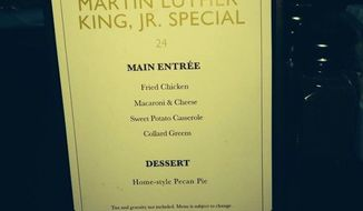 The Borgata Hotel Casino in Atlantic City was the target of criticism Monday after one of its restaurants offered fried chicken and collard greens in honor of Martin Luther King, Jr. (Twitter/@ShaunDeeb)
