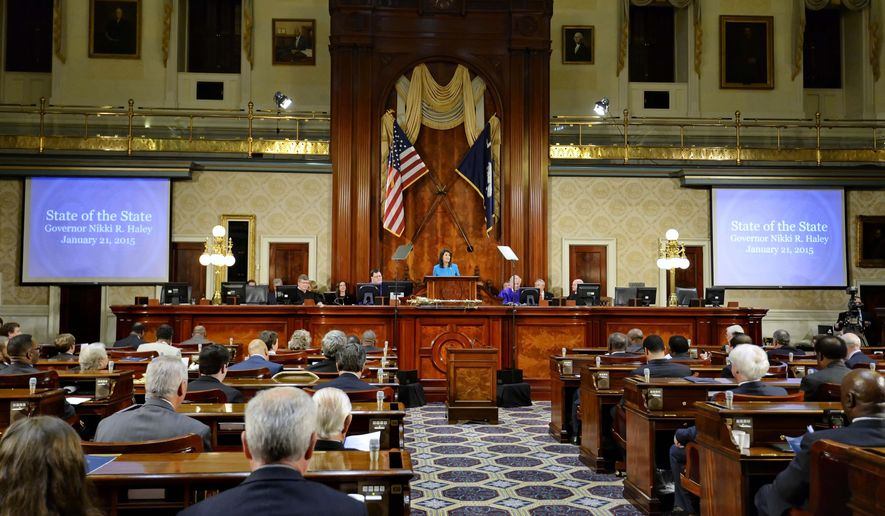 South Carolina Gov. Nikki Haley delivers her State of the State address to the joint session of the legislature, Wednesday, Jan. 21, 2015, at the Statehouse in Columbia, S.C. (AP Photo/Richard Shiro)