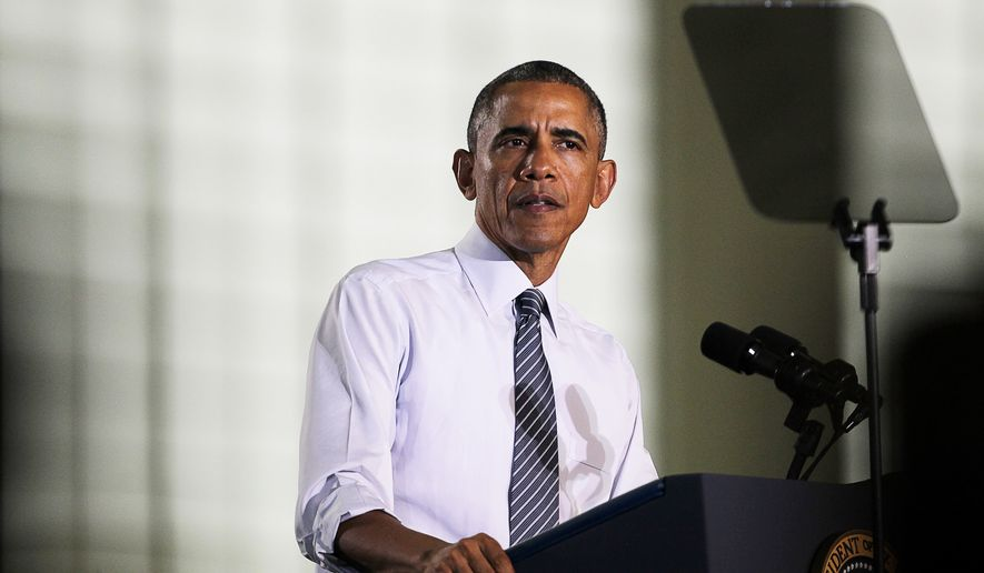 President Barack Obama speaks to a capacity crowd at Boise State University during a visit to Boise, Idaho, Wednesday, Jan. 21, 2015. (AP Photo/Idaho Statesman, Kyle Green)