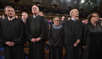 From left: U.S. Chief Justice John G. Roberts Jr. and Supreme Court Justices Anthony M. Kennedy, Ruth Bader Ginsburg, Stephen G. Breyer and Sonia Sotomayor -- FILE. (Agence France-Presse)