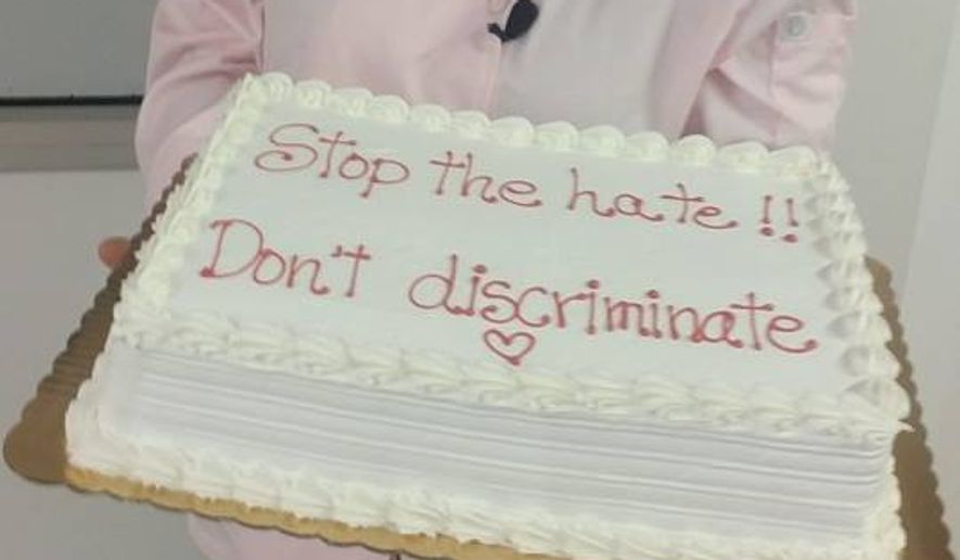 Marjorie Silva, who owns Denver's Azucar Bakery, posted this photo on the bakery's Facebook page after a customer filed a complaint against the bakery for refusing to write anti-gay messages on a Bible-shaped cake.