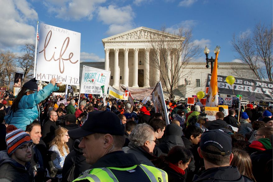 Anti-abortion demonstrators march past the Supreme Court in Washington, Thursday, Jan. 22, 2015, during the annual March for Life. Thousands of anti-abortion demonstrators are gathering in Washington for an annual march to protest the Supreme Court's landmark 1973 decision that declared a constitutional right to abortion. (AP Photo/Jacquelyn Martin) ** FILE **