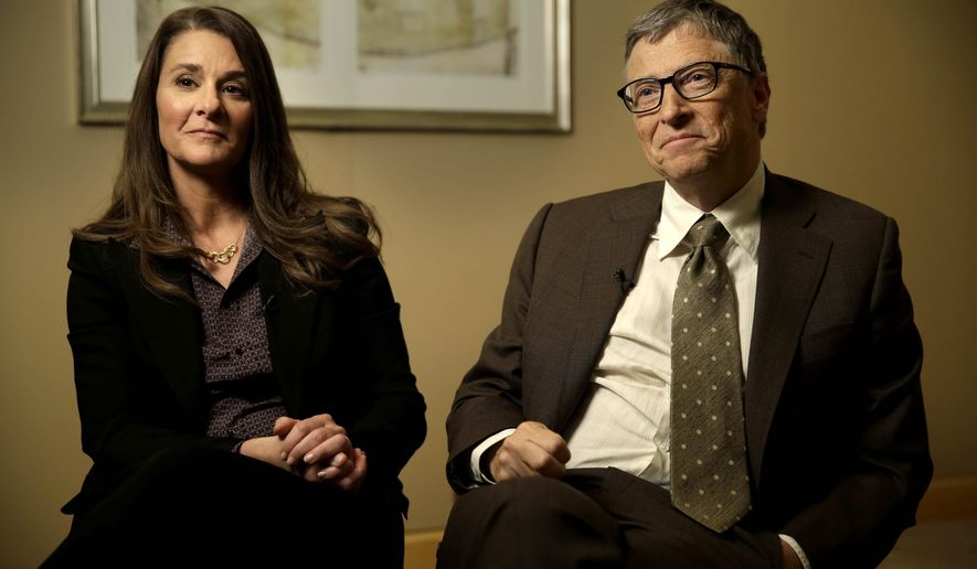 Bill and Melinda Gates are interviewed in New York, Wednesday, Jan. 21, 2015. As the world decides on the most crucial goals for the next 15 years in defeating poverty, disease and hunger, the $42 billion Gates Foundation announces its own ambitious agenda. (AP Photo/Seth Wenig)