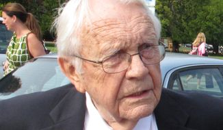 Former Kentucky Sen. Wendell Ford is seen in Lexington, Ky., in this Sept. 27, 2012, file photo. Ford, a former governor and U.S. senator who was the dominant figure in Democratic politics in Kentucky for 30 years, has died. He was 90. (AP Photo/Roger Alford, File)