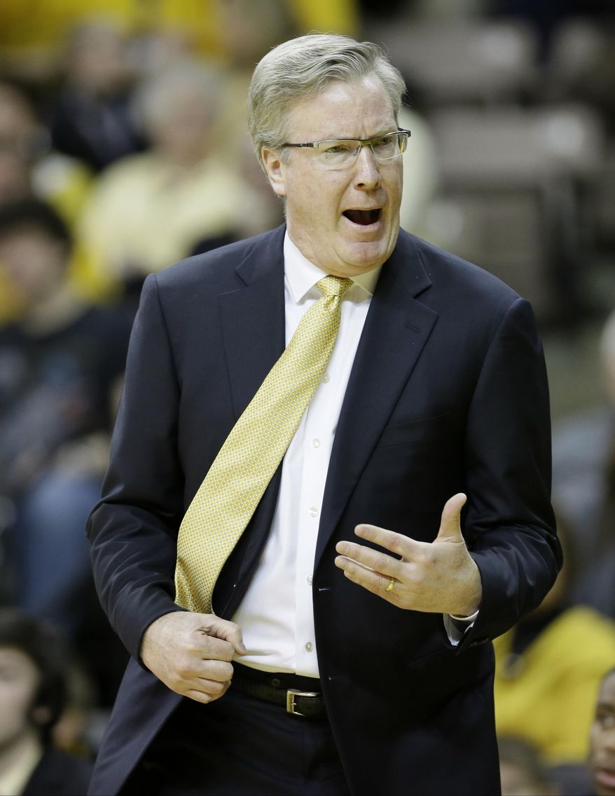 FILe - This Jan. 17, 2015, file photo shows Iowa head coach Fran McCaffery reacting to a call during the first half of an NCAA college basketball game against Ohio State in Iowa City, Iowa. McCaffery is steamed at ESPN announcer Dan Dakich after the commentator blasted Hawkeyes center Adam Woodbury during Tuesday night's, Jan. 20, 2015,  loss to Wisconsin. (AP Photo/Charlie Neibergall, File)