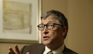 Bill Gates talks during an interview in New York, Wednesday, Jan. 21, 2015. As the world decides on the most crucial goals for the next 15 years in defeating poverty, disease and hunger, the $42 billion Gates Foundation announces its own ambitious agenda. (AP Photo/Seth Wenig)