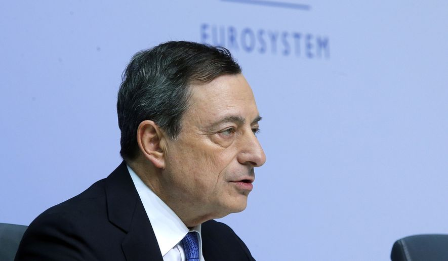 President of European Central Bank Mario Draghi speaks during a news conference in Frankfurt, Germany, Thursday, Jan. 22, 2015, following a meeting of the ECB governing council. (AP Photo/Michael Probst)