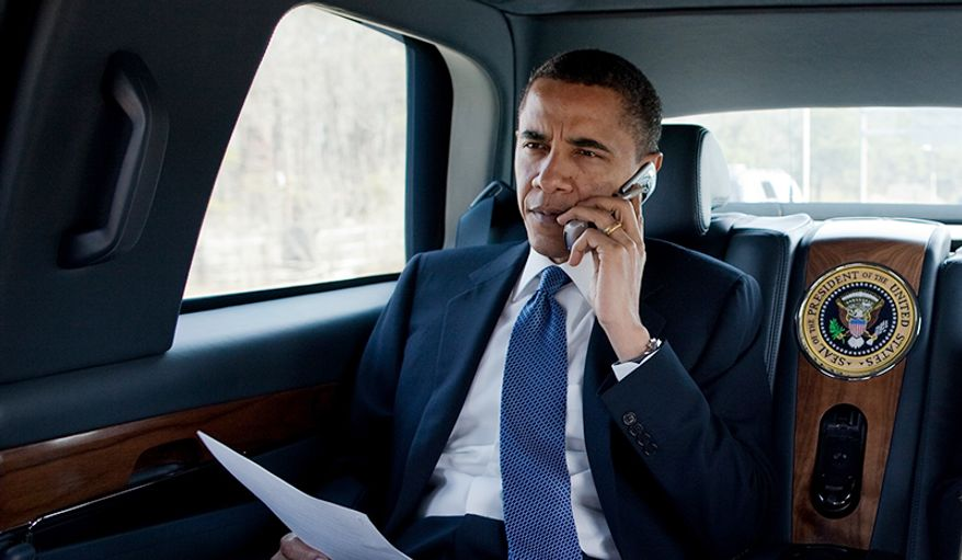 President Barack Obama talks on the phone with a Member of Congress while en route to a health care event at George Mason University in Fairfax, Va., March 19, 2010 in this file photo. The White House comments line was reported as disconnected on Jan. 14, with just five and a half days left in the Obama presidency. (Official White House Photo by Pete Souza) **FILE**  This official White House photograph is being made available only for publication by news organizations and/or for personal use printing by the subject(s) of the photograph. The photograph may not be manipulated in any way and may not be used in commercial or political materials, advertisements, emails, products, promotions that in any way suggests approval or endorsement of the President, the First Family, or the White House.