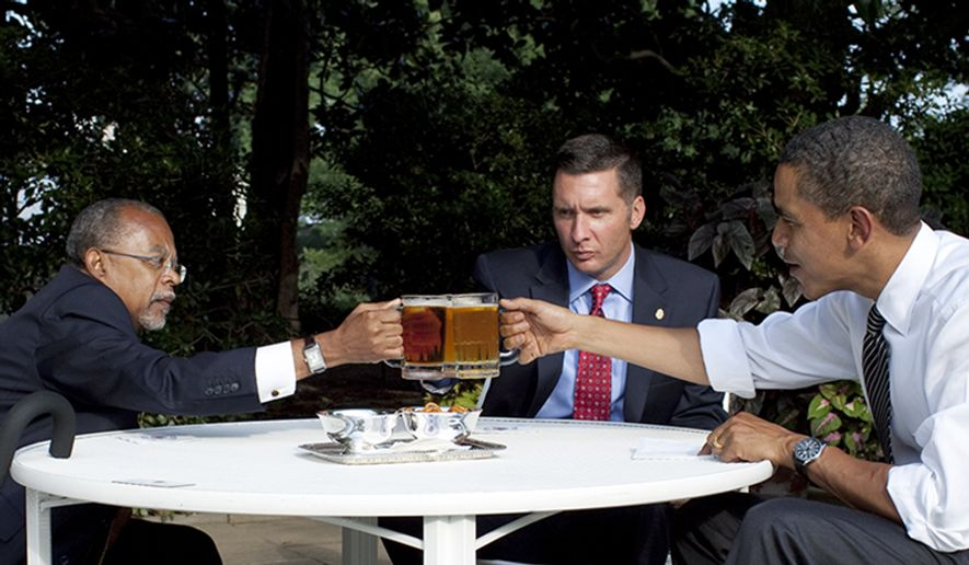 President Obama, Professor Henry Louis Gates Jr. and Sgt. James Crowley meet in the Rose Garden of the White House on July 30, 2009. (Pete Souza/White House) **FILE**