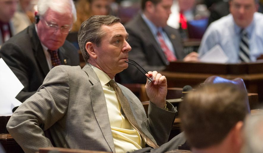 "FILE - In this Jan. 10, 2013 file photo, House Republican Caucus Chairman Glen Casada of Franklin participates in an ethics training session in the House chamber in Nashville, Tenn. Casada, a staunch opponent of Republican Gov. Bill Haslam's proposal to extend health coverage to 200,000 low-income Tennesseans, on Friday, Jan. 23, 2015, decried what he called ""dishonest scare tactics"" by a conservative group running radio ads targeting GOP lawmakers. (AP Photo/Erik Schelzig, File)"