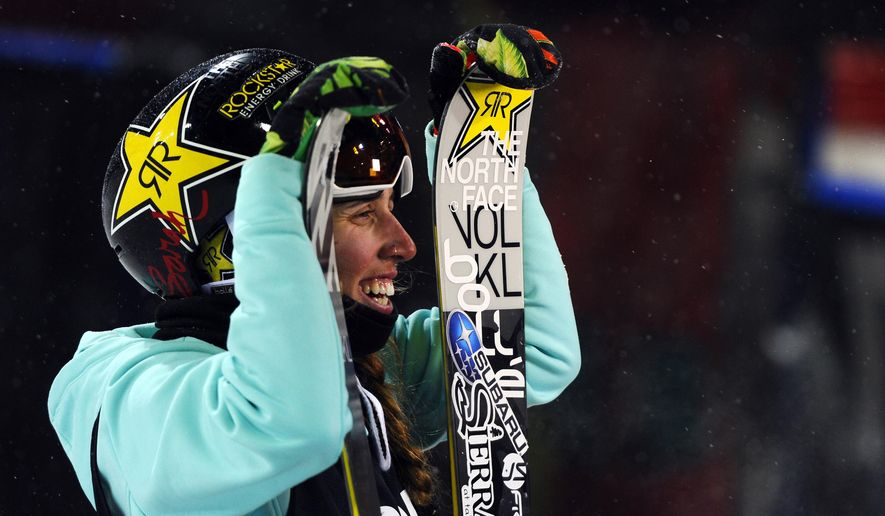 Maddie Bowman smiles after winning the women's Ski SuperPipe at the X Games on Buttermilk Mountain, Wednesday, Jan. 21, 2015, in Aspen, Colo. (AP Photo/The Denver Post, Mahala Gaylord)