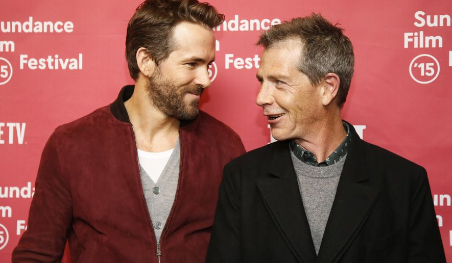 """Actors Ryan Reynolds, left, and Ben Mendelsohn pose at the premiere of """"Mississippi Grind"""" during the 2015 Sundance Film Festival on Saturday, Jan. 24, 2015, in Park City, Utah. (Photo by Danny Moloshok/Invision/AP)"""