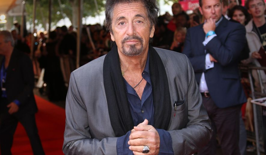 """FILE - In this Sept. 21, 2014 file photo, Al Pacino arrives for the """"Salome and Wild Salome"""" premiere in central London. Pacino, 74, stars in the film """"The Humbling,"""" about an aging actor who loses his craft and his appetite for acting. (Photo by Joel Ryan/Invision/AP, File)"""
