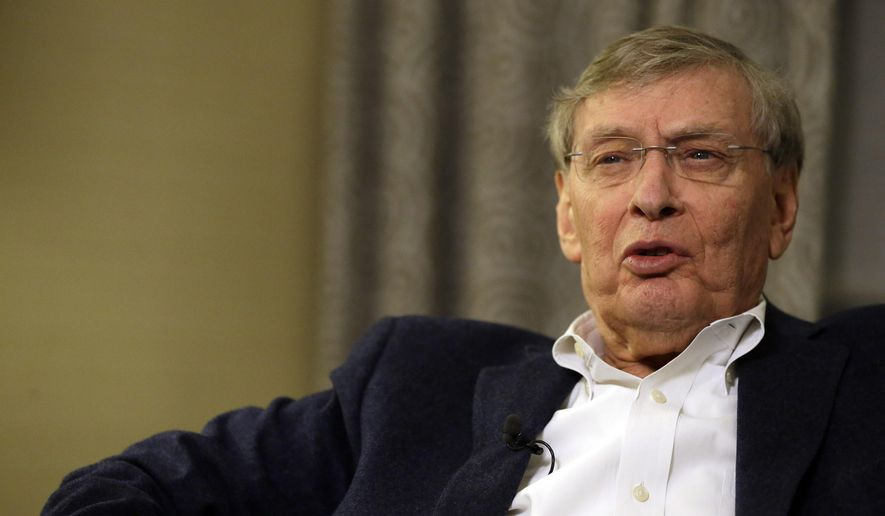 Baseball Commissioner Bud Selig speaks during an interview with The Associated Press in New York, Saturday, Jan. 24, 2015. On the final day of his nearly 22 1-2 years in charge of baseball, Selig talked about his legacy. (AP Photo/Mary Altaffer)