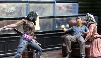 Michonne attacks Penny in McFarlane Toys' The Governor's Room. (Photograph by Joseph Szadkowski / The Washington Times)
