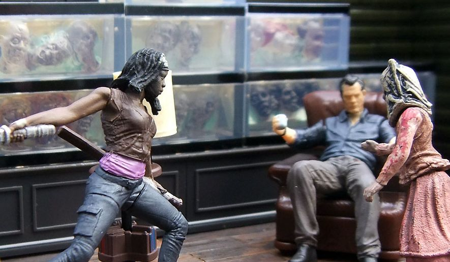 michonne attacks penny in mcfarlane toys the governors
