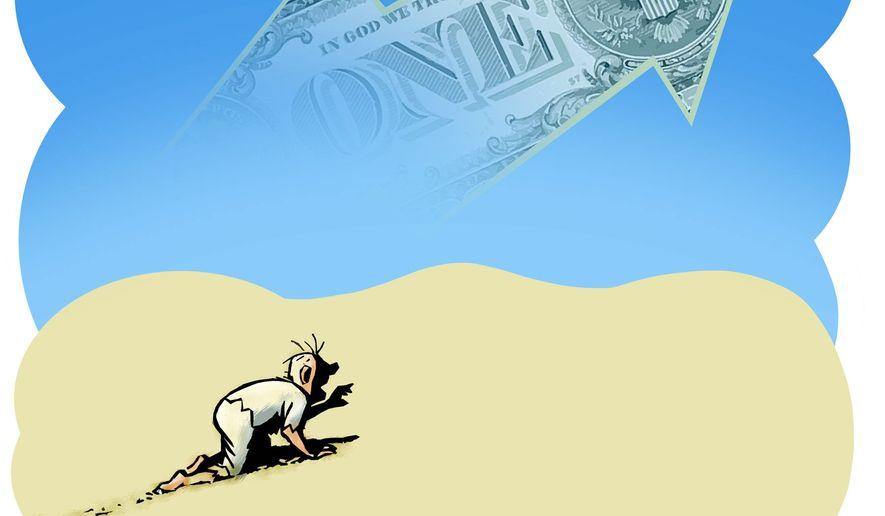 Illustration on the illusory nature of the economic recovery for the middle class by Alexander Hunter/The Washington Times