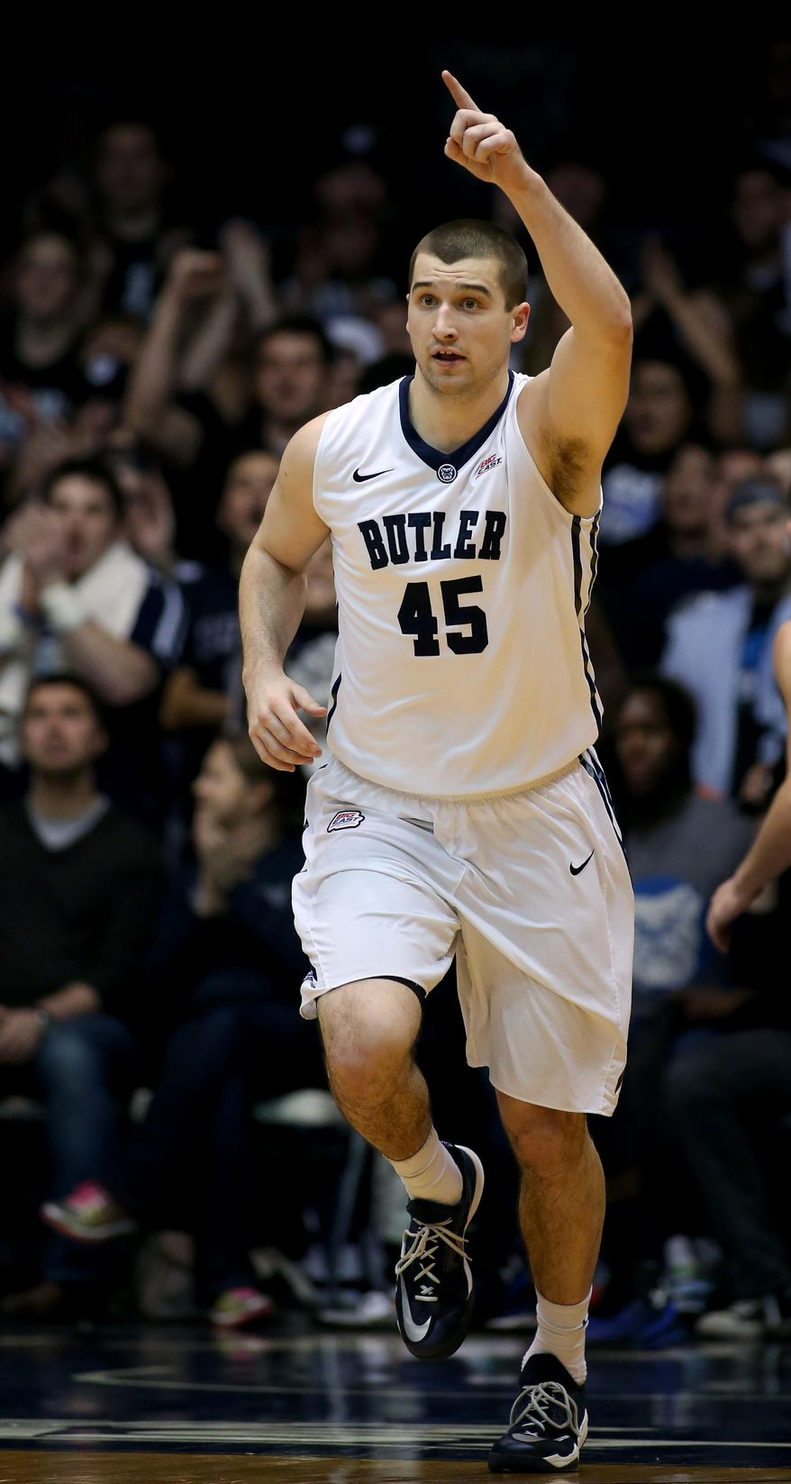 Butler forward Andrew Chrabascz (45) reacts after making a basket during the first half of an NCAA college basketball game against Seton Hall in Indianapolis, Ind., Sunday, Jan. 25, 2015. (AP Photo/Sam Riche)