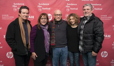 "From left to right, Author/producer Lawrence Wright, former Scientology church member Spanky Taylor, director Alex Gibney, Sara Bernstein, Senior Vice President of Programming for HBO Documentaries and former Scientology church member Mike Rinder attend the premiere of ""Going Clear: Scientology and the Prison of Belief"" during the 2015 Sundance Film Festival on Sunday, Jan. 25, 2015, in Park City, Utah. (Photo by Arthur Mola/Invision/AP)"