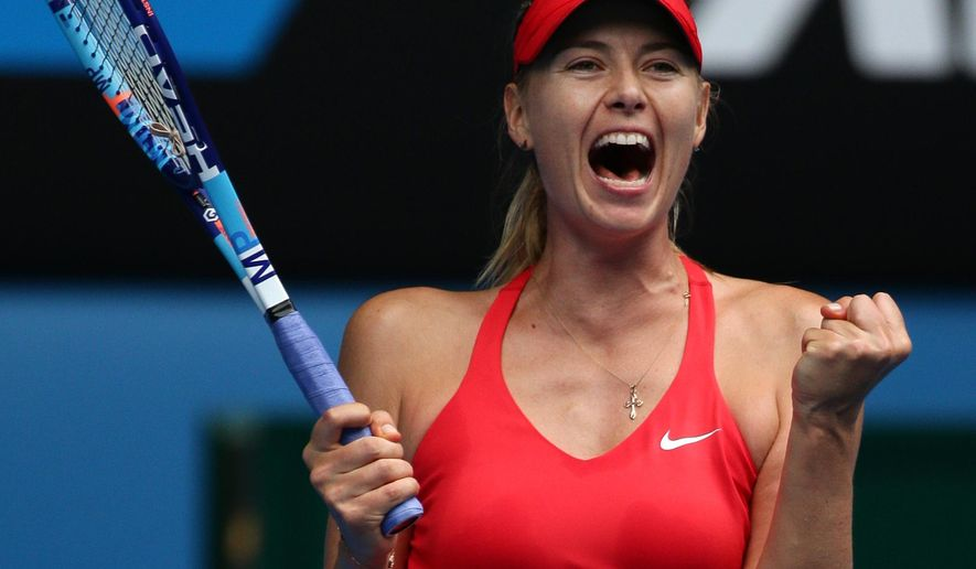 Maria Sharapova of Russia celebrates after defeating Eugenie Bouchard of Canada in their quarterfinal match at the Australian Open tennis championship in Melbourne, Australia, Tuesday, Jan. 27, 2015. (AP Photo/Rob Griffith)