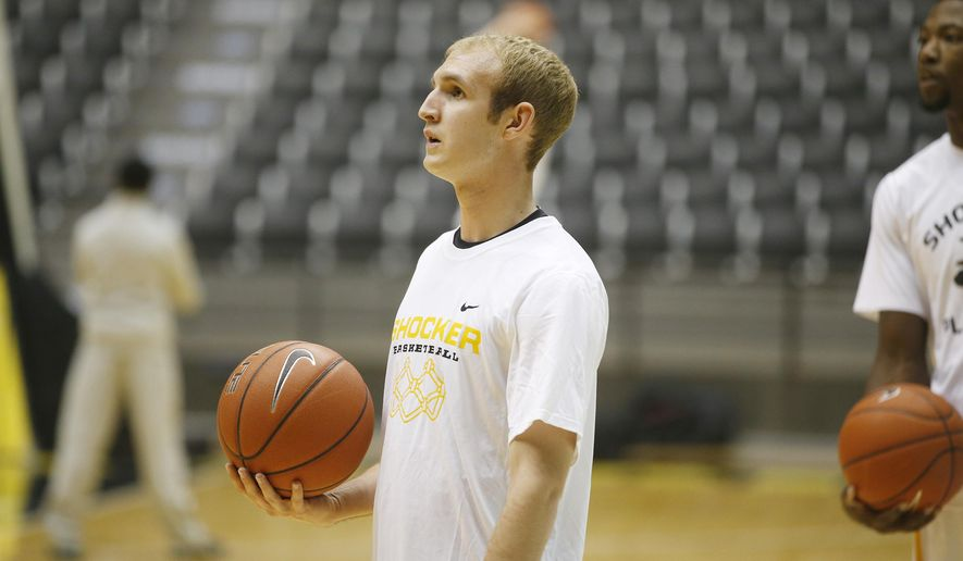 In this Jan. 4, 2015, photo, Conner Frankamp looks on before an NCAA college basketball game against Illinois State. Frankamp, 19, was arrested over the weekend on suspicion of DUI, authorities said Monday, Jan. 26, 2015. (AP Photo/The Wichita Eagle, Jaime Green) LOCAL TV OUT; MAGS OUT; LOCAL RADIO OUT; LOCAL INTERNET OUT