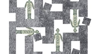 Illustration on American's diminished economic freedom by Alexander Hunter/The Washington Times
