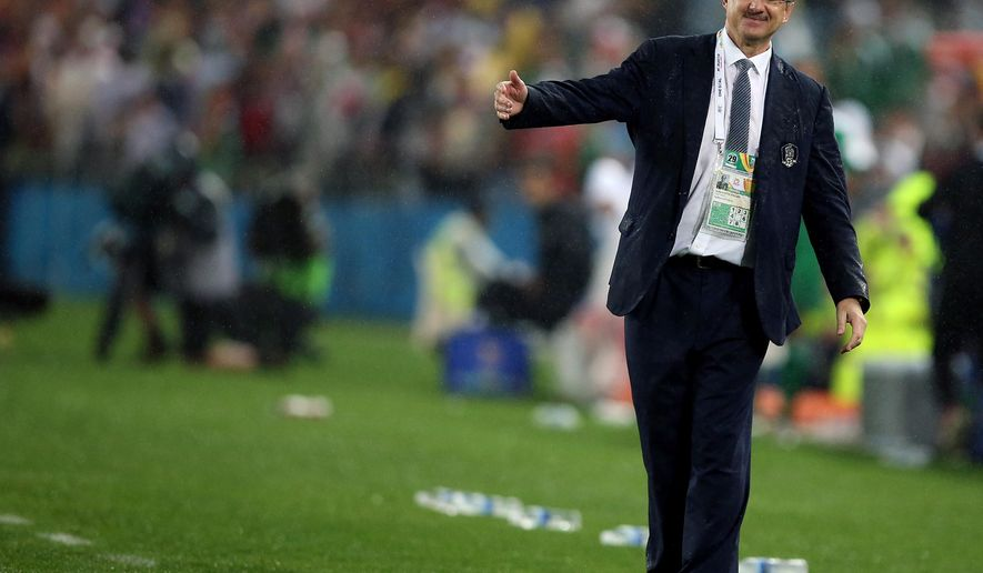 South Korea's head coach Uli Stielike is seen during the AFC Asian Cup semifinal soccer match between South Korea and Iraq in Sydney, Australia, Monday, Jan. 26, 2015. (AP Photo/Rick Rycroft)