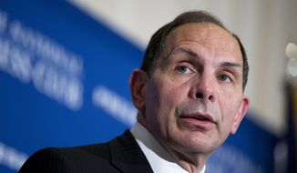 Veterans Affairs Secretary Robert McDonald speaks at the National Press Club in Washington on Nov. 7, 2014. The Veterans Affairs Department says it is creating a single regional framework that divides the sprawling agency into five clearly marked regions. The new framework is part of a larger reorganization that VA leaders say will bring a singular focus on customer service to an agency that serves 22 million veterans. (AP Photo/Manuel Balce Ceneta, File) **FILE**