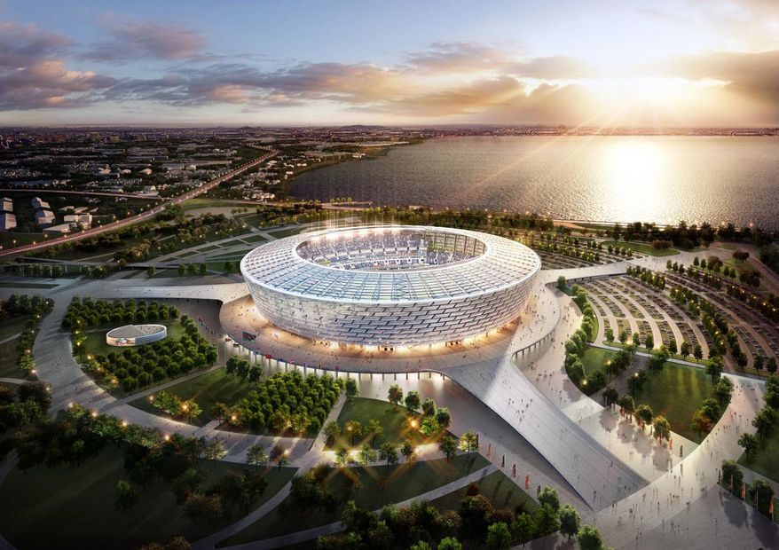 Artist rendering of the Baku National Stadium currently under construction in Boyuk Shor, Baku, Azerbaijan.