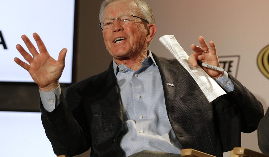 NASCAR Championship team owner Joe Gibbs speaks to the media during the NASCAR Charlotte Motor Speedway Media Tour in Charlotte, N.C., Monday, Jan. 26, 2015. (AP Photo/Chuck Burton)