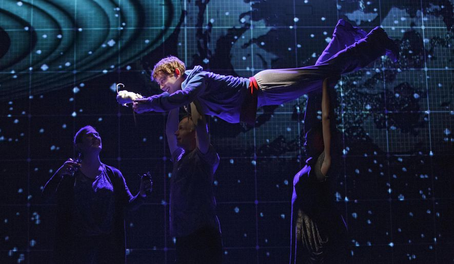 "In this image released by  Boneau/Bryan-Brown, Alex Sharp appears in a scene from the National Theatre production of ""The Curious Incident of the Dog in the Night-Time."" Producers of the London hit said Monday, Jan. 26, 2015, that the play has recouped its $4.75 million capitalization. (AP Photo/Boneau/Bryan-Brown, Joan Marcus)"