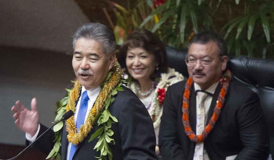 Gov. David Ige delivers his State of the State address in Honolulu, Hawaii., on Monday, Jan. 26, 2015. Ige wants to build a better home for the state's young and elderly. But to do that, the state needs more money. The state's tight financial situation and the need for money to make Hawaii a better place to live were themes of Ige's State of the State address on Monday. (AP Photo/Honolulu Star-Advertiser, Craig T. Kojima)
