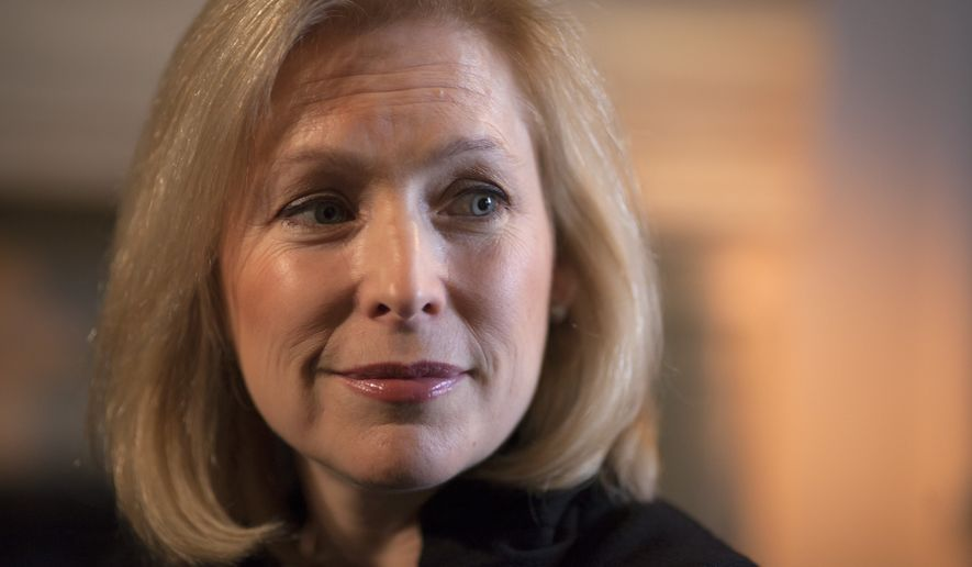 In this Jan. 21, 2014, photo, Sen. Kirsten Gillibrand, D-N.Y., chair of the Senate Armed Services Subcommittee on Personnel, is interviewed by The Associated Press about her proposal to let military prosecutors rather than commanders make decisions on whether to prosecute sexual assaults in the military, in her Capitol Hill office in Washington. (AP Photo/J. Scott Applewhite)