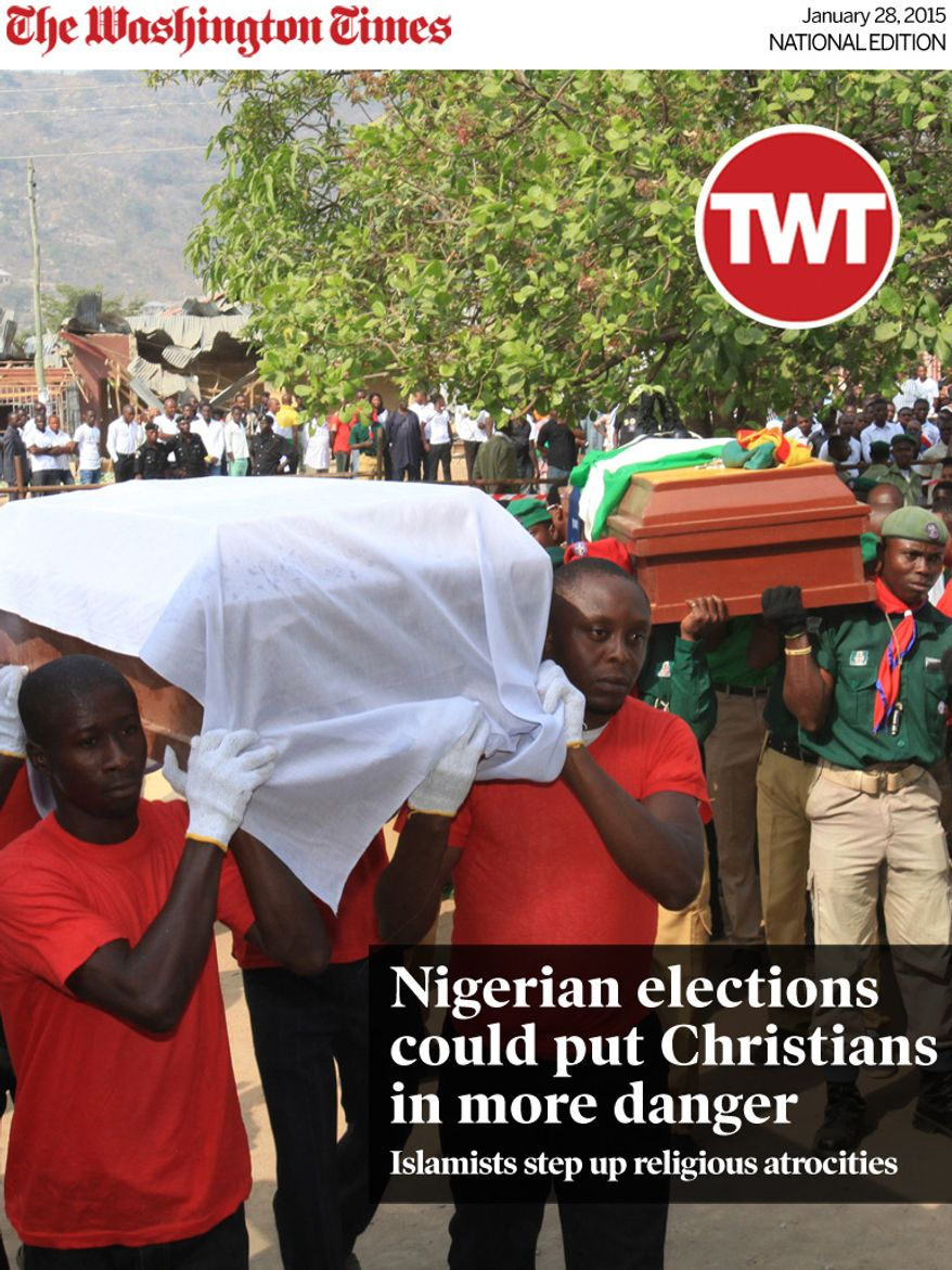 National Edition News cover for January 28, 2015 - Nigerian elections could put Christians in danger: Pall bearers carry the coffins of those killed in a Christmas Day bombing at a Catholic church in Madalla, Nigeria, on Wednesday, Feb. 1, 2012. Mourners wept as they carried out the mass burial Wednesday the church near Nigeria's capital where dozens died in a Christmas Day bombing by a radical Islamist sect. (AP Photo/Sunday Aghaeze)