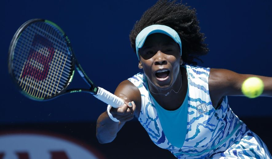 Venus Williams of the U.S. makes a forehand return to compatriot Madison Keys during their quarterfinal match at the Australian Open tennis championship in Melbourne, Australia, Wednesday, Jan. 28, 2015. (AP Photo/Vincent Thian)
