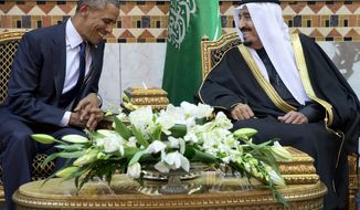 President Obama meets new Saudi Arabian King Salman bin Abdul Aziz in Riyadh, Saudi Arabia, Tuesday, Jan. 27, 2015. The president and First Lady Michelle Obama went to express their condolences on the death of the late Saudi Arabian King Abdullah bin Abdulaziz al-Saud. (AP Photo/Carolyn Kaster)